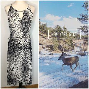 New York & Co. Snakeskin Hi Low Party Dress M